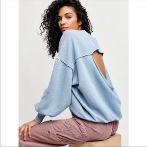 Free People Easy Does it Pullover in Bottled Blue